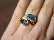 14 Karat Yellow Gold Tanzanite, Diamond and Opal Ring