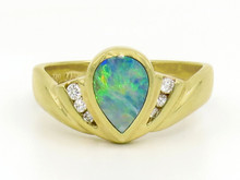 14 Karat Yellow Gold Pear Shaped Opal and Diamond Ring