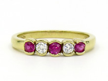 18 Karat Yellow Gold Ruby and Diamond Bezel Set Band