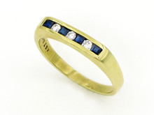 14 Karat Yellow Gold Sapphire and Diamond Squared Channel Band