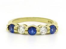 18 Karat Yellow Gold Five Stone Sapphire and Diamond Band