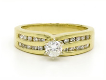 14 Karat Yellow Gold Double Channel Diamond Ring