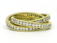 18 Karat Yellow Gold Channel Set Diamond Rolling Ring