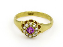 Victorian 18 Karat Yellow Gold Amethyst Ring with Seed Pearl Halo