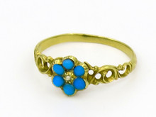 14 Karat Yellow Gold Victorian Turquoise and Diamond Ring