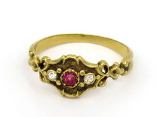 14 Karat Yellow Gold Ruby and Diamond Victorian Ring