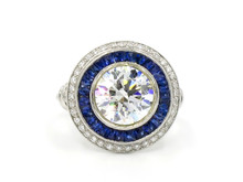 18 Karat White Gold 3 Carat Diamond and Sapphire Double Halo Ring