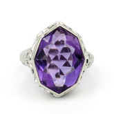18 Karat White Gold Edwardian Amethyst Filigree Ring