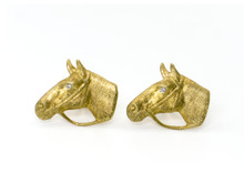 14 Karat Yellow Gold and Diamond Horse Head Cufflinks