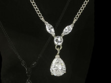 14 Karat White Gold Pear Diamond Drop Necklace