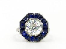 Platinum & 18 Karat White Gold Art Deco 2.67 Carat Old European Cut Diamond Ring with Sapphire Halo