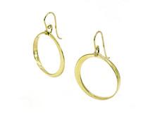 14 Karat Yellow Gold Dangling Circle Earrings