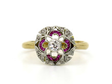 Platinum Topped 18 Karat Yellow Gold Ruby & Diamond Art Deco Ring