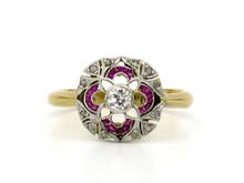 Platinum Topped 18 Karat Yellow Gold Ruby & Diamond Art Deco Ring