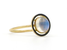 14 Karat Yellow Gold Art Nouveau Moonstone & Black Enamel Ring
