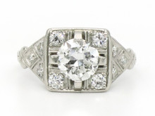 Platinum 1.08 Carat Art Deco Diamond Ring