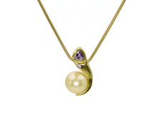 18 Karat Yellow Gold South Sea Pearl, Pink Diamond and Garnet Necklace