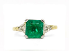 14 Karat Yellow Gold 2.62 Carat Emerald and Diamond Ring