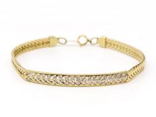 14 Karat Yellow Gold ID Style Diamond Bracelet