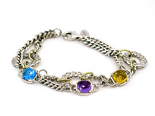 Alysa Sterling Silver Double Strand Gemstone Bracelet with 18 Karat Yellow Gold Accents