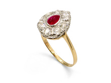 Platinum & 18 Karat Yellow Gold Cabochon Ruby & Diamond Teardrop Ring