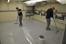 Garon Guard epoxy floor coating application in a mechanical room