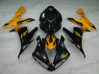 Yamaha YZF-R1 2004 2005 2006 black and yellow fairing kits, this Yamaha YZF-R1 2004 2005 2006 plastics was applied in black and yellowgraphics, this 2004 2005 2006 YZF-R1 fairing set comes with the both color and decals shown as the photo.If you want to do custom fairings for YZF-R1 2004 2005 2006,our talented airbrusher will custom it for you.