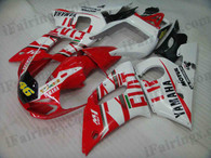 Yamaha YZF-R6 1998 to 2002 Fiat replica fairing kits, this Yamaha YZF-R6 1998 to 2002 plastics was applied in Fiat replicagraphics, this 1998 to 2002 YZF-R6 fairing set comes with the both color and decals shown as the photo.If you want to do custom fairings for YZF-R6 1998 to 2002,our talented airbrusher will custom it for you.