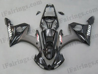 Yamaha YZF-R6 2003 2004 2005 black fairing kits, this Yamaha YZF-R6 2003 2004 2005 plastics was applied in blackgraphics, this 2003 2004 2005 YZF-R6 fairing set comes with the both color and decals shown as the photo.If you want to do custom fairings for YZF-R6 2003 2004 2005,our talented airbrusher will custom it for you.