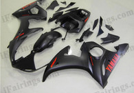 Yamaha YZF-R6 2003 2004 2005 matt/flat black fairing kits, this Yamaha YZF-R6 2003 2004 2005 plastics was applied in matt/flat blackgraphics, this 2003 2004 2005 YZF-R6 fairing set comes with the both color and decals shown as the photo.If you want to do custom fairings for YZF-R6 2003 2004 2005,our talented airbrusher will custom it for you.