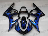 OEM quality fairings and body kits for 2003 2004 2005 Yamaha YZF-R6 with black and blue flame color scheme/graphics, these fairing kits are oem quality, fast shipping and easy installtion. More factory color-matched fairings for YZF-R6 2003 2004 2005, team race replica fairings and custom fairing sets for Yamaha YZF-R6 2003 2004 2005, please browse iFairings.com.