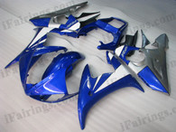 Yamaha YZF-R6 2003 2004 2005 blue and grey fairing kits, this Yamaha YZF-R6 2003 2004 2005 plastics was applied in blue and greygraphics, this 2003 2004 2005 YZF-R6 fairing set comes with the both color and decals shown as the photo.If you want to do custom fairings for YZF-R6 2003 2004 2005,our talented airbrusher will custom it for you.
