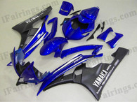 Yamaha YZF-R6 2006 2007 blue and black fairing kits, this Yamaha YZF-R6 2006 2007 plastics was applied in blue and blackgraphics, this 2006 2007 YZF-R6 fairing set comes with the both color and decals shown as the photo.If you want to do custom fairings for YZF-R6 2006 2007,our talented airbrusher will custom it for you