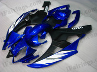 Yamaha YZF-R6 2006 2007 blue and black fairing kits, this Yamaha YZF-R6 2006 2007 plastics was applied in blue and blackgraphics, this 2006 2007 YZF-R6 fairing set comes with the both color and decals shown as the photo.If you want to do custom fairings for YZF-R6 2006 2007,our talented airbrusher will custom it for you.
