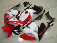 Honda CBR600RR 2005 2006 red,white and black fairing kits, this Honda CBR600RR 2005 2006 plastics was applied in red,white and blackgraphics, this 2005 2006 CBR600RR fairing set comes with the both color and decals shown as the photo.If you want to do custom fairings for CBR600RR 2005 2006,our talented airbrusher will custom it for you.