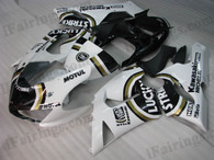 Kawasaki ZX6R 636 2005 2006 Lucky Strike fairing kits, this Kawasaki ZX6R 636 2005 2006 plastics was applied in Lucky Strikegraphics, this 2005 2006 ZX6R 636 fairing set comes with the both color and decals shown as the photo.If you want to do custom fairings for ZX6R 636 2005 2006,our talented airbrusher will custom it for you.