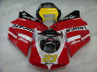 Ducati 748/916/996/998 red and black fairing kits, this Ducati 748/916/996/998 replacement fairing was applied in red and black graphics, this Ducati 748/916/996/998 fairing set comes with the both color and decals shown as the photo. If you want to do custom fairings for Ducati 748/916/996/998,our talented airbrusher will custom it for you.