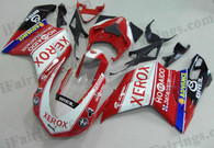Ducati 848/1098/1198 xerox replica fairing kits, this Ducati 848/1098/1198 replacement fairing was applied in xerox replica graphics, this Ducati 848/1098/1198 fairing set comes with the both color and decals shown as the photo. If you want to do custom fairings for Ducati 848/1098/1198,our talented airbrusher will custom it for you.