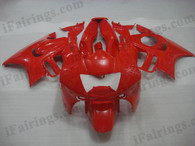 Honda CBR600 F3 1995 1996 red fairing kits, 1995 1996 Honda CBR600 F3 red plastic.This Honda CBR600 F3 1995 1996 fairing kits was applied in red graphics, this 1995 1996 CBR600 fairing set comes with the both color and decals shown as the photo.If you want to do custom fairings for CBR600 F3 1995 1996,our talented airbrusher will custom it for you.