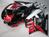 Honda CBR600 F3 1995 1996 red/white/black fairing kits, 1995 1996 Honda CBR600 F3 red/white/black plastic.This Honda CBR600 F3 1995 1996 fairing kits was applied in red/white/black graphics, this 1995 1996 CBR600 fairing set comes with the both color and decals shown as the photo.If you want to do custom fairings for CBR600 F3 1995 1996,our talented airbrusher will custom it for you.