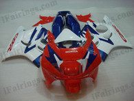Honda CBR600 F3 1995 1996 red/white/blue fairing kits, 1995 1996 Honda CBR600 F3 red/white/blue plastic.This Honda CBR600 F3 1995 1996 fairing kits was applied in red/white/blue graphics, this 1995 1996 CBR600 fairing set comes with the both color and decals shown as the photo.If you want to do custom fairings for CBR600 F3 1995 1996,our talented airbrusher will custom it for you.