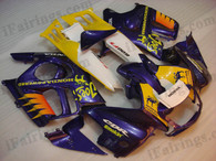 Honda CBR600 F3 1995 1996 blue/yellow/white fairing kits, 1995 1996 Honda CBR600 F3 blue/yellow/white plastic.This Honda CBR600 F3 1995 1996 fairing kits was applied in blue/yellow/white graphics, this 1995 1996 CBR600 fairing set comes with the both color and decals shown as the photo.If you want to do custom fairings for CBR600 F3 1995 1996,our talented airbrusher will custom it for you.