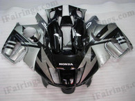 Honda CBR600 F3 1997 1998 black and silver fairing kits, 1997 1998 Honda CBR600 F3 black and silver plastic.This Honda CBR600 F3 1997 1998 fairing kits was applied in black and silver graphics, this 1997 1998 CBR600 fairing set comes with the both color and decals shown as the photo.If you want to do custom fairings for CBR600 F3 1997 1998,our talented airbrusher will custom it for you