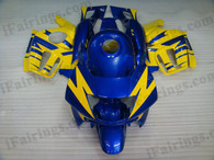 Honda CBR600 F3 1997 1998 blue and yellow fairing kits, 1997 1998 Honda CBR600 F3 blue and yellow plastic.This Honda CBR600 F3 1997 1998 fairing kits was applied in blue and yellow graphics, this 1997 1998 CBR600 fairing set comes with the both color and decals shown as the photo.If you want to do custom fairings for CBR600 F3 1997 1998,our talented airbrusher will custom it for you.