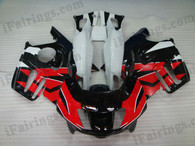 Honda CBR600 F3 1997 1998 red/black/white fairing kits, 1997 1998 Honda CBR600 F3 red/black/white plastic.This Honda CBR600 F3 1997 1998 fairing kits was applied in red/black/white graphics, this 1997 1998 CBR600 fairing set comes with the both color and decals shown as the photo.If you want to do custom fairings for CBR600 F3 1997 1998,our talented airbrusher will custom it for you.