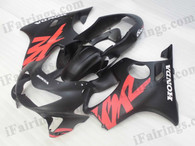 Honda CBR600 F4 1999 2000 matt/flat black fairing kits, 1999 2000 Honda CBR600 F4 matt/flat black plastic.This Honda CBR600 F4 1999 2000 fairing kits was applied in matt/flat black graphics, this 1999 2000 CBR600 fairing set comes with the both color and decals shown as the photo.If you want to do custom fairings for CBR600 F4 1999 2000,our talented airbrusher will custom it for you.