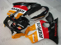 Honda CBR600 F4 1999 2000 repsol replica fairing kits, 1999 2000 Honda CBR600 F4 repsol replica plastic.This Honda CBR600 F4 1999 2000 fairing kits was applied in repsol replica graphics, this 1999 2000 CBR600 fairing set comes with the both color and decals shown as the photo.If you want to do custom fairings for CBR600 F4 1999 2000,our talented airbrusher will custom it for you.