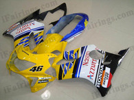 Honda CBR600 F4 1999 2000 NASTRO AZZURRO fairing kits, 1999 2000 Honda CBR600 F4 NASTRO AZZURRO plastic.This Honda CBR600 F4 1999 2000 fairing kits was applied in NASTRO AZZURRO graphics, this 1999 2000 CBR600 fairing set comes with the both color and decals shown as the photo.If you want to do custom fairings for CBR600 F4 1999 2000,our talented airbrusher will custom it for you.
