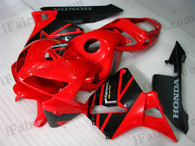 Honda CBR600RR 2005 2006 red and black fairing kits, this Honda CBR600RR 2005 2006 plastics was applied in red and blackgraphics, this 2005 2006 CBR600RR fairing set comes with the both color and decals shown as the photo.If you want to do custom fairings for CBR600RR 2005 2006,our talented airbrusher will custom it for you