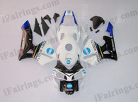 Honda CBR600RR 2003 2004 KONICA MINOLTA fairing kits, this Honda CBR600RR 2003 2004 plastics was applied in KONICA MINOLTA graphics, this 2003 2004 CBR600RR fairing set comes with the both color and decals shown as the photo.If you want to do custom fairings for CBR600RR 2003 2004,our talented airbrusher will custom it for you.